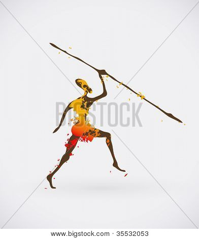 poster of Colorful Vector Illustration of Traditional Ritual Dance. Human Silhouette with Weapon Creative Design.