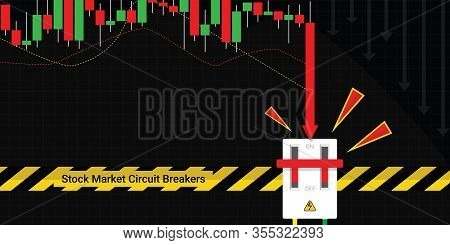 Circuit Breakers Function Concept, Stop Trading To Prevent Stock Market Crashes, Graph And Chart Equ