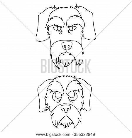Cute Cartoon Monochrome Schnauzer Dog And Puppy Faces Lineart Vector Clipart. Pedigree- Doggie Breed
