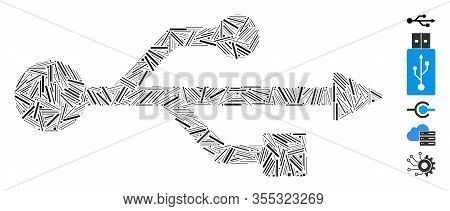 Dash Mosaic Based On Usb Symbol Icon. Mosaic Vector Usb Symbol Is Created With Random Dash Items. Bo