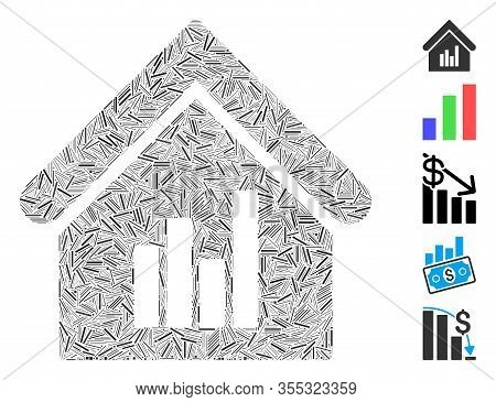 Line Collage Based On Realty Bar Chart Icon. Mosaic Vector Realty Bar Chart Is Created With Randomiz