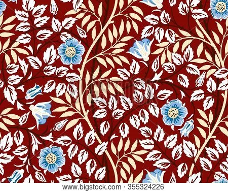 Vintage Floral Seamless Pattern With Blue Flowers And Foliage On Burgundy Background. Futuristic Unr