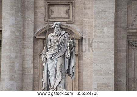 Statue Of Saint Paul The Apostle In Vatican City, Rome, Italy. It Was Sculpted By Adamo Tadolini (17