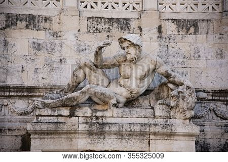 Statue Of The Adriatic Sea Fountains Of The Two Seas The Vittoriano, Rome, Italy. Work By Emilio Qua