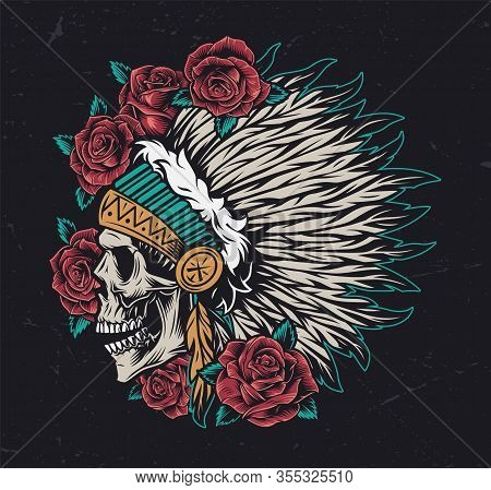 Wild West Vintage Colorful Concept With Roses And Native American Indian Chief Skull In Feathers Hea