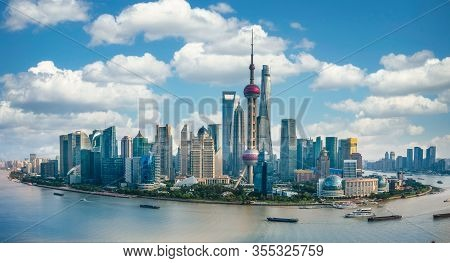 Panorama Of The Skyline Of Shanghai Urban And Huangpu River, China, On A Sunny Day
