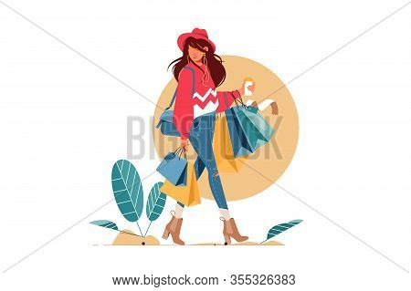 Young Attractive Fashionable Woman Holding Packages With Clothes After Shopping. Isolated Concept Gi
