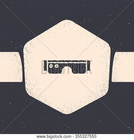 Grunge Smart Glasses Mounted On Spectacles Icon Isolated On Grey Background. Wearable Electronics Sm