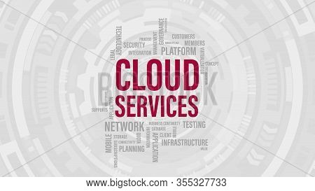 Cloud Computing Services Concept. Abstract Word Cloud Of Cloud Services Technology Conceptual Vector