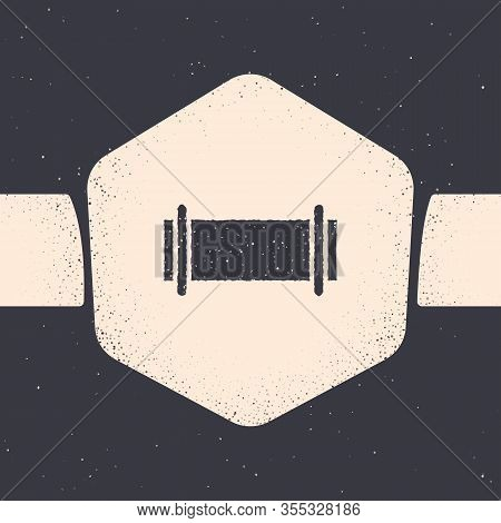 Grunge Industry Metallic Pipe Icon Isolated On Grey Background. Monochrome Vintage Drawing. Vector I