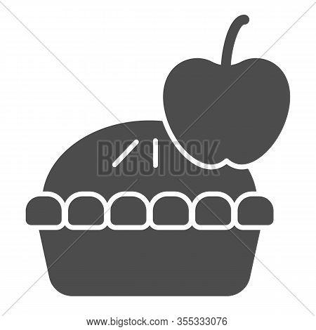 Apple Pie Solid Icon. Fruit Dessert Tart, Sweet Baked Cake Symbol, Glyph Style Pictogram On White Ba