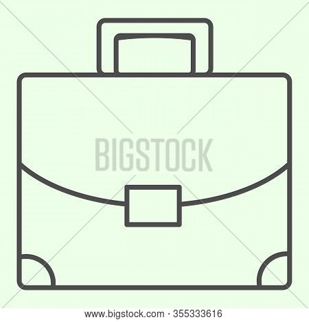 Briefcase Thin Line Icon. Student Personal Case Outline Style Pictogram On White Background. Handle
