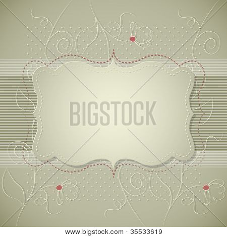 Vintage background with flowers label