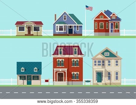 House Icon Collection. Family House. Flat Icons Vector House. Double Decker. Cartoon House. Street W
