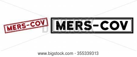 Mers-cov Seal Stamp. Red Vector Rectangular Distress Seal Stamp With Mers-cov Phrase, Inside Double