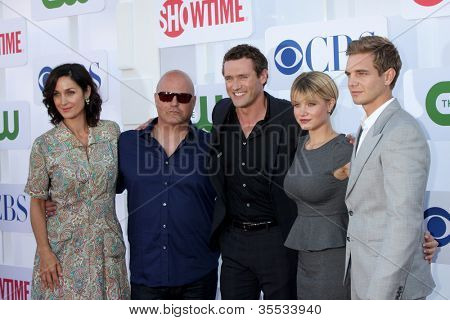 LOS ANGELES - JUL 29:  Carrie-Anne Moss, Michael Chiklis, Jason O'Mara, Sarah Jones, Taylor Handley arrives at the CBS 2012 Summer TCA party at Beverly Hilton on July 29, 2012 in Beverly Hills, CA