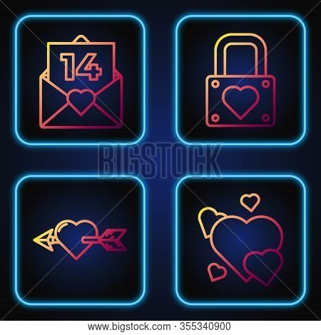 Set Line Heart, Amour With Heart And Arrow, Envelope With Valentine Heart And Lock And Heart. Gradie