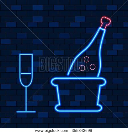Vip Neon Icons. Night Bright, Glowing Light Banner. Bottle Of Champagne With Stemware On Dark Brick