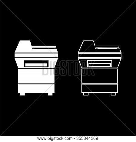 Copy Machine Printer Copier For Office Photocopier Duplicate Equipment Icon Outline Set White Color