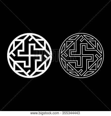Valkyrie Varangian Sign Valkiriya Slavic Symbol Icon Outline Set White Color Vector Illustration Fla