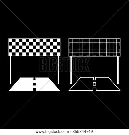Finish And Road Line Racing Track Success Concept Finishing Icon Outline Set White Color Vector Illu
