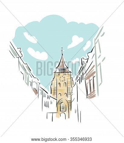 Wavre Belgium Europe Vector Sketch City Illustration Line Art