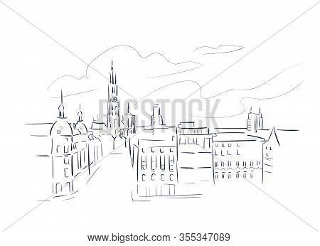 Antwerp Belgium Europe Vector Sketch City Illustration Line Art