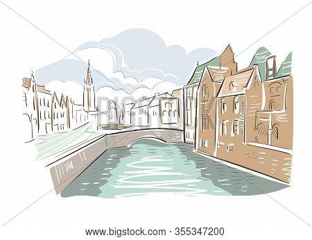 Belgium Bruges Europe Vector Sketch City Illustration Line Art