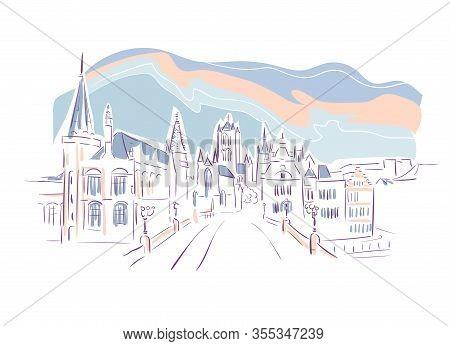 Belgium Ghent Europe Vector Sketch City Illustration Line Art