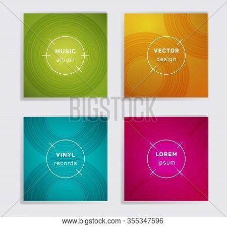 Geometric Plate Music Album Covers Collection. Semicircle Curve Lines Patterns. Minimal Plate Music