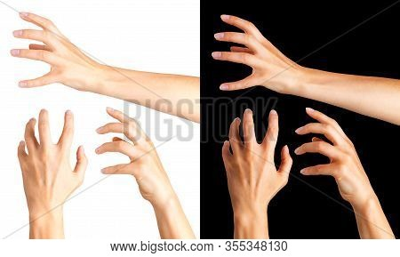 Woman Hands With Crooked Fingers Showing Magic Trick Or Holding Ball