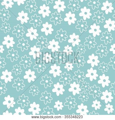 Cute Repeat Daisy Wildflower Pattern With Blue Background. Seamless Floral Pattern. White Daisy. Sty
