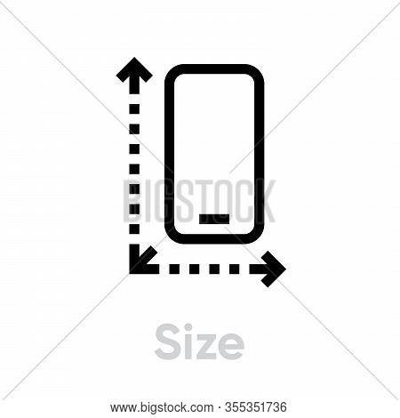 Tech Specs Size Phone Icon. Editable Line Vector.