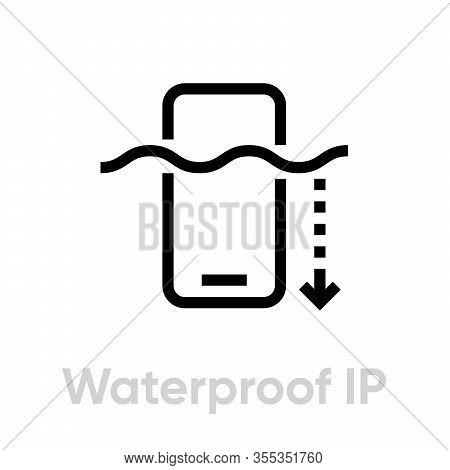 Tech Specs Waterproof Ip Phone Icon. Editable Line Vector.