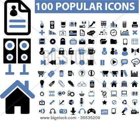 100 popular media icons set, vector