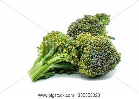 Broccoli Florets Isolated On White Background Cut Out