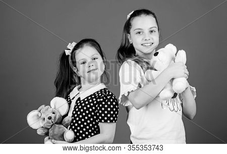 Sisters Or Best Friends Play With Toys. Sweet Childhood. Childhood Concept. Kids Adorable Cute Girls