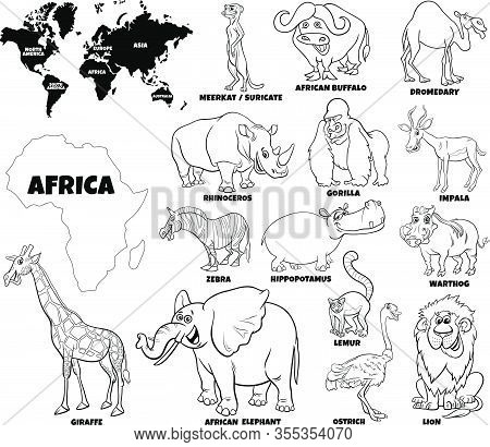 Black And White Educational Cartoon Illustration Of African Animals Set And World Map With Continent