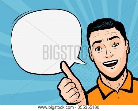Young Man Showing Thumbs Up. Retro Comic Pop Art Vector Illustration