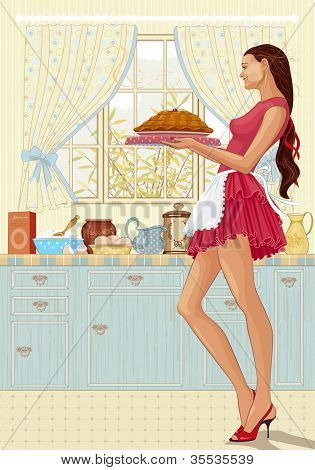 Beautiful young woman holding a tray of freshly baked cake in her kitchen