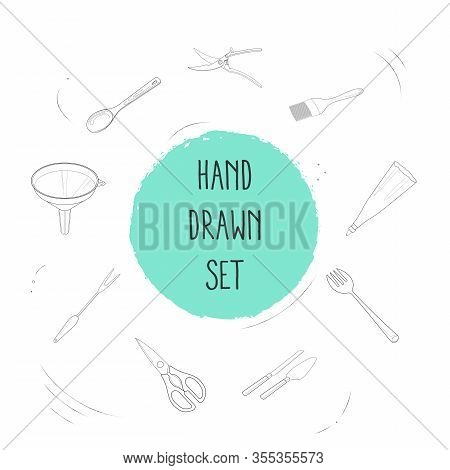 Set Of Utensil Icons Line Style Symbols With Utensil, Funnel, Salad Fork And Other Icons For Your We