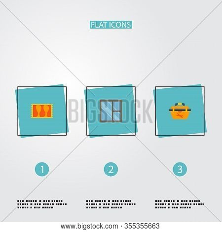 Set Of Industry Icons Flat Style Symbols With Casement, Tool Box, Carpet And Other Icons For Your We