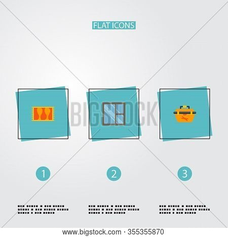 Set Of Industrial Icons Flat Style Symbols With Casement, Tool Box, Carpet And Other Icons For Your
