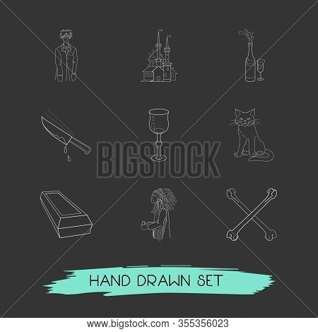 Set Of Witch Icons Line Style Symbols With Crossed Bones, Cat, Stemware And Other Icons For Your Web