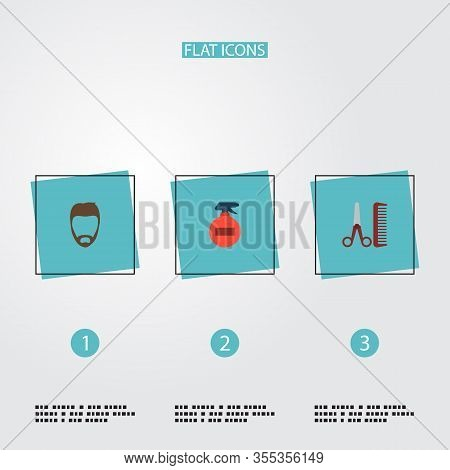 Set Of Hairdresser Icons Flat Style Symbols With Beard, Hairspray, Hairstylist And Other Icons For Y
