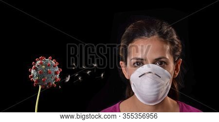 Using protective mask against coronavirus contagion infection.