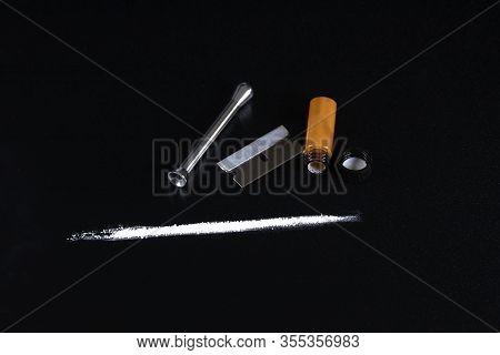 Cocaineon A Black Background, Cocaine Bottle