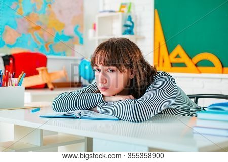 Portrait Of Teenager Girl Of School Study Indoors. Teenager Girl Learning. Cute Teenager Girl Study
