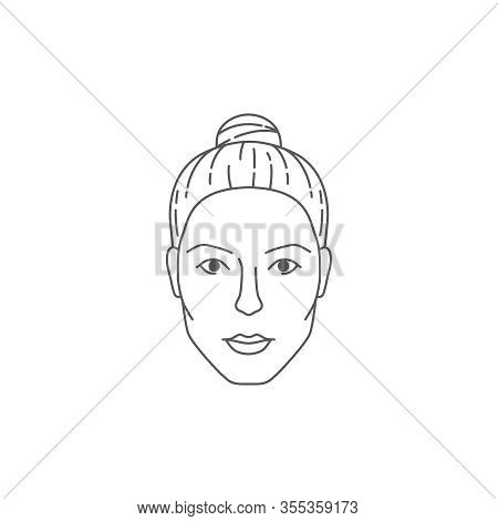 Front Female Face. Beautiful Woman S Head. Cosmetology Minimal Concept Icon Isolated On White Backgr