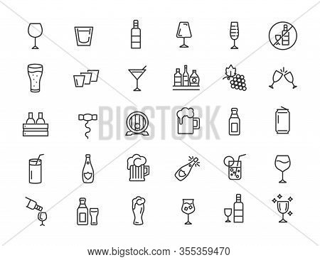 Set Of Linear Alcohol Icons. Drink Icons In Simple Design. Vector Illustration